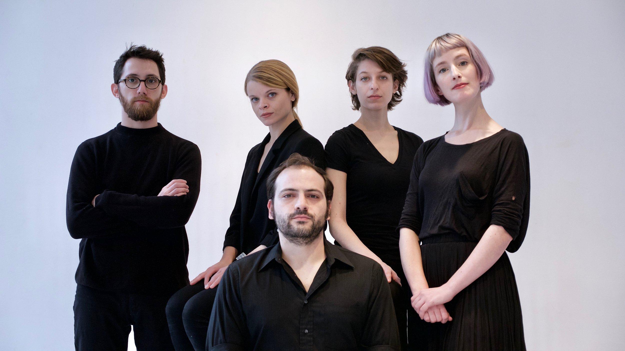 TAK ensemble (left to right): Carlos Cordeiro, Laura Cocks, Ellery Trafford, Marina Kifferstein, and Charlotte Mundy