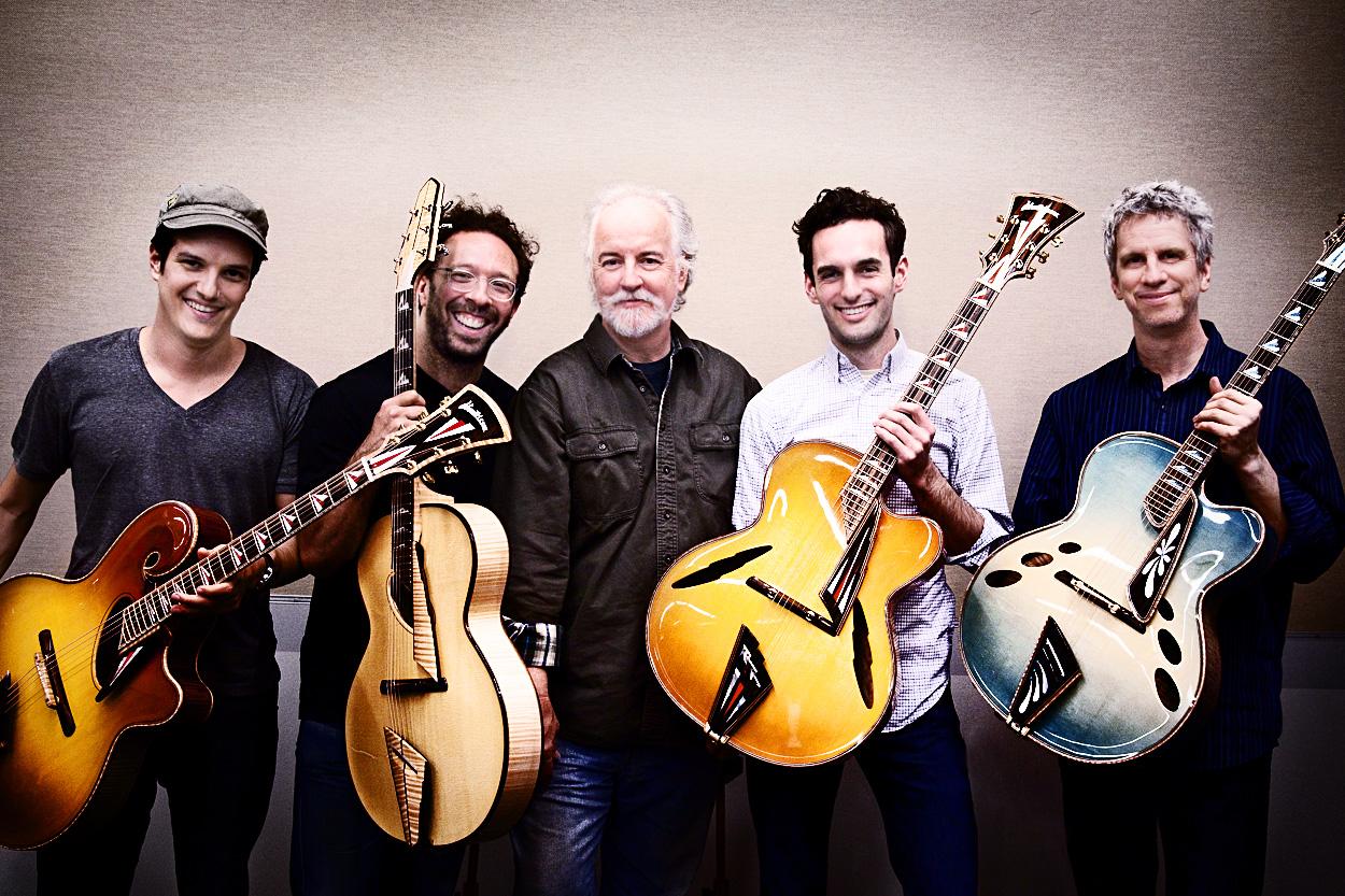 Chico Pinheiro, Anthony Wilson, John Monteleone, Julian Lage, Steve Cardenas. photo © Ian Gittler, 2011.