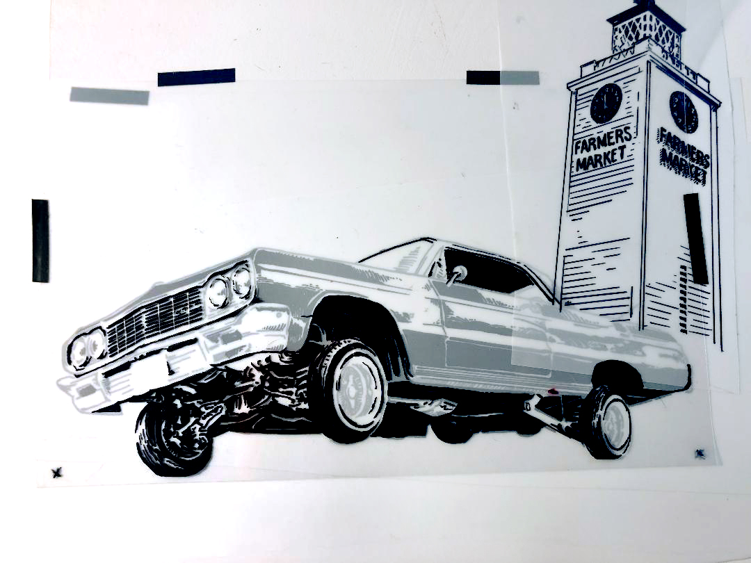 Hand drawn film separations for the Original Farmers Market for the Annual Heritage Car Show 2018