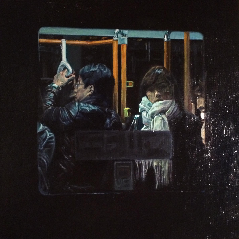 Bus No.7.  Oil on canvas  33cm x 33cm