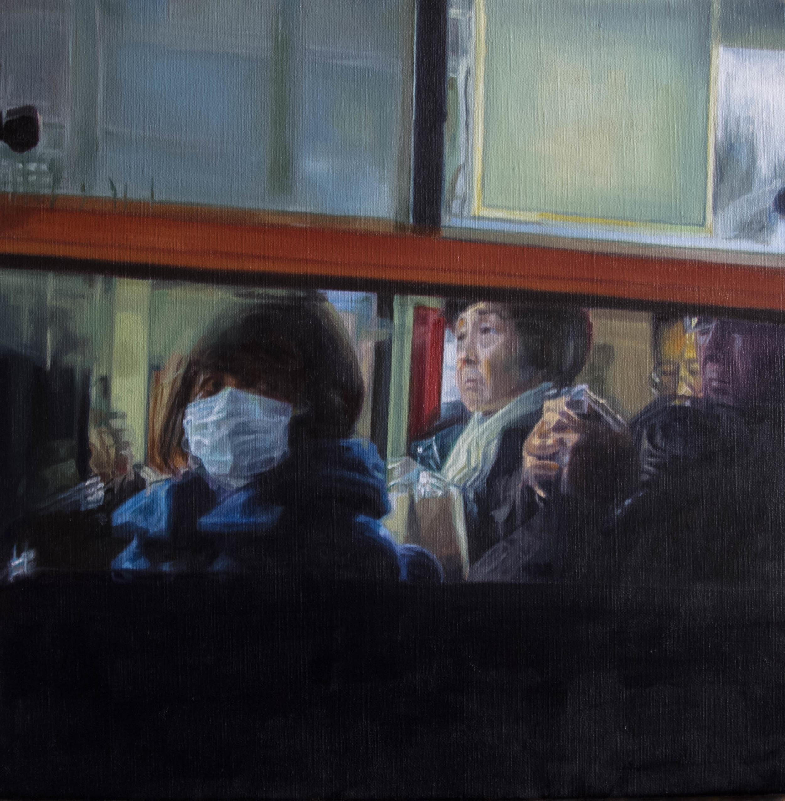 Bus No.1.  Oil on canvas.  33cm x 33cm