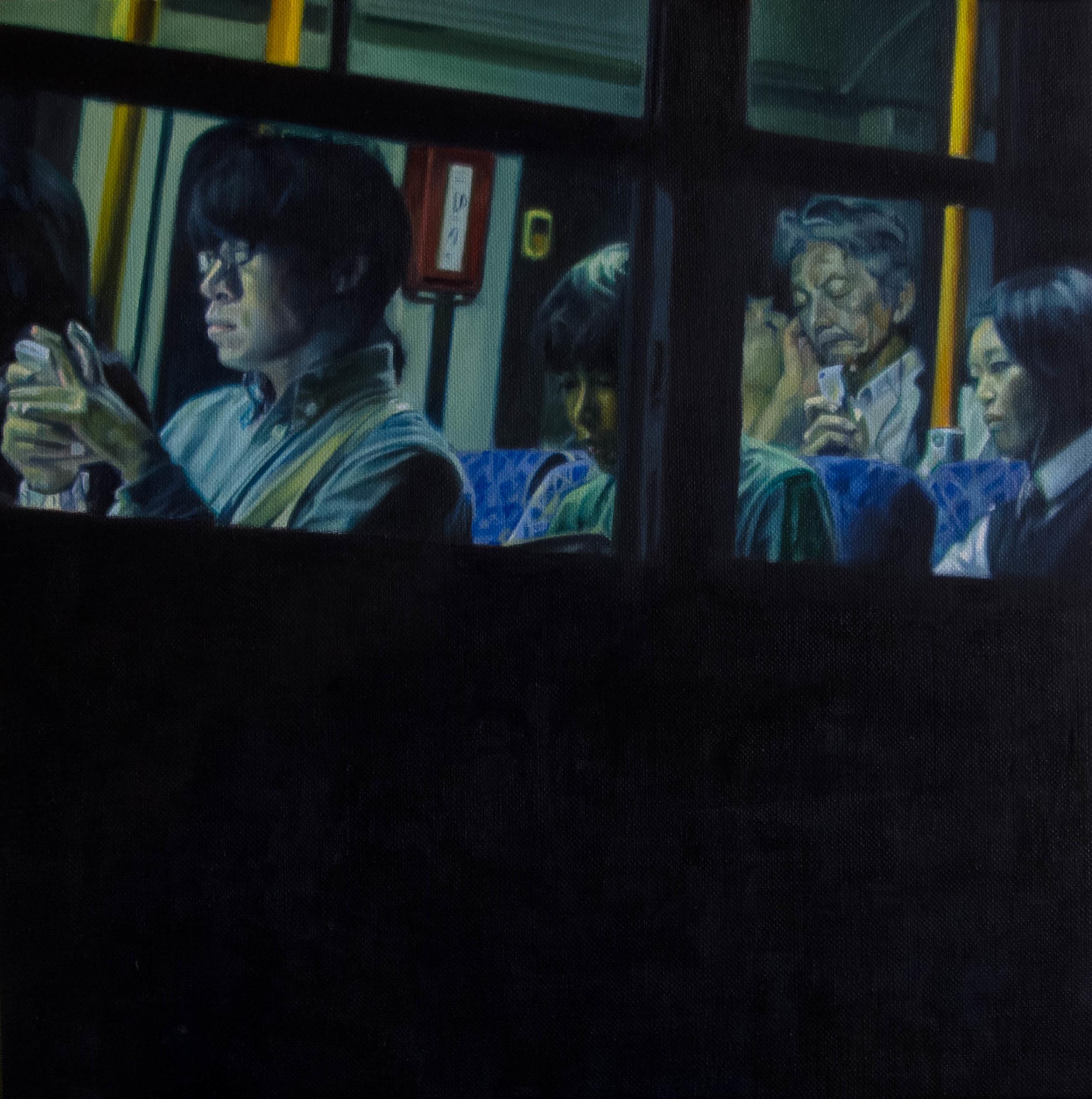 Bus No.5.  Oil on canvas.  33cm x 33cm