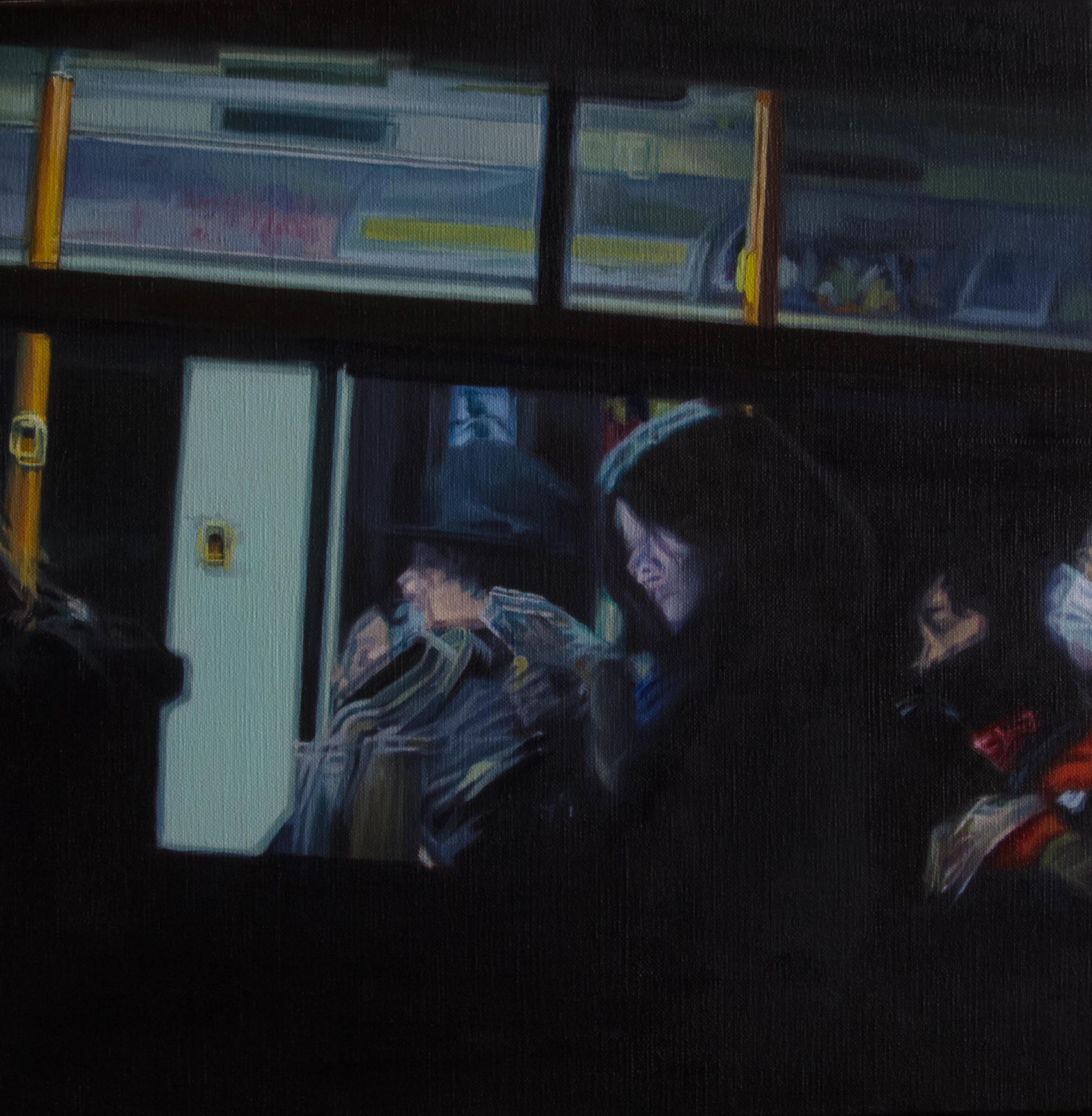 Bus No.4.  Oil on canvas. 33cm x 33cm