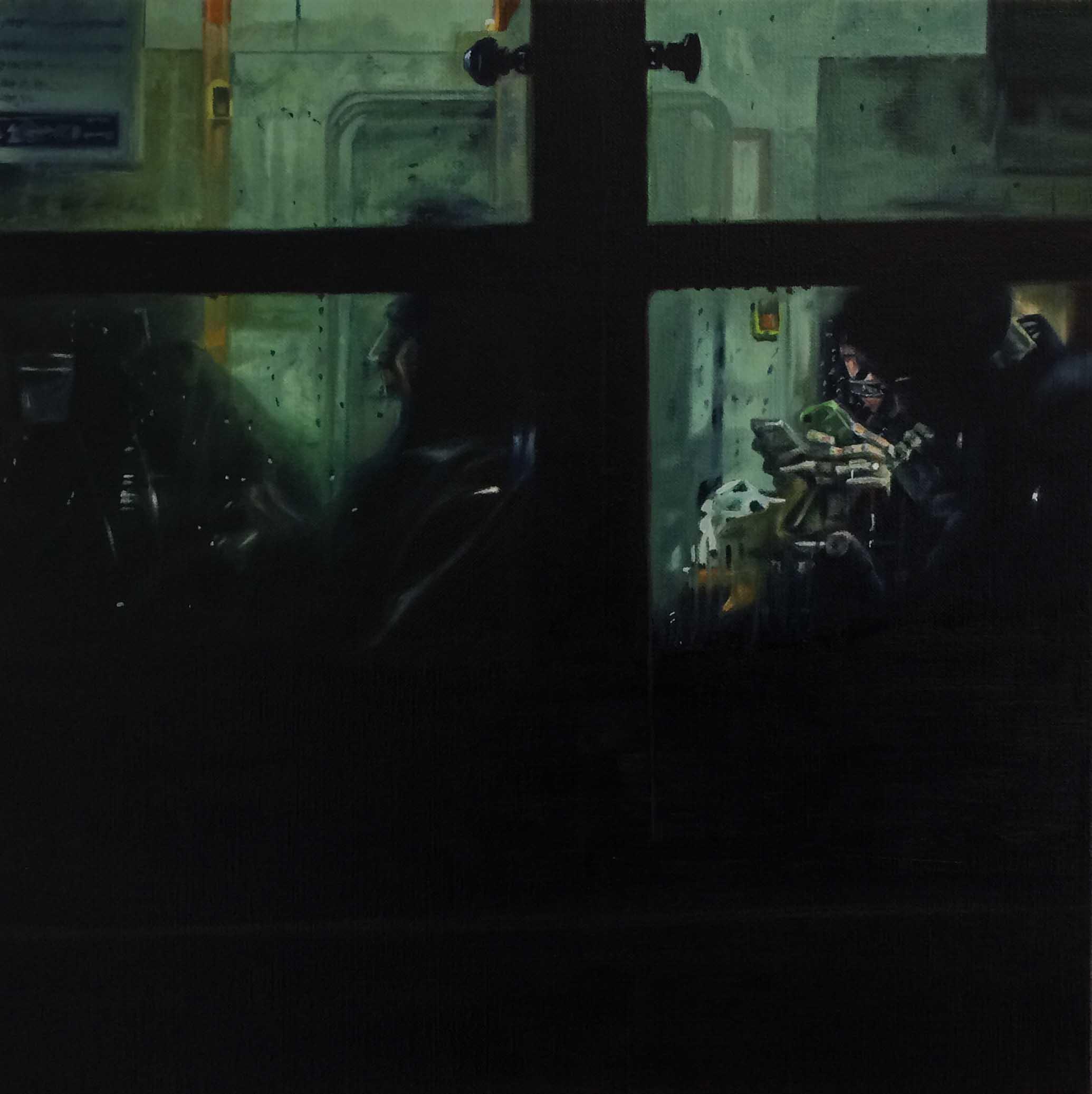 Bus No.12.  Oil on canvas.  33cm x 33cm