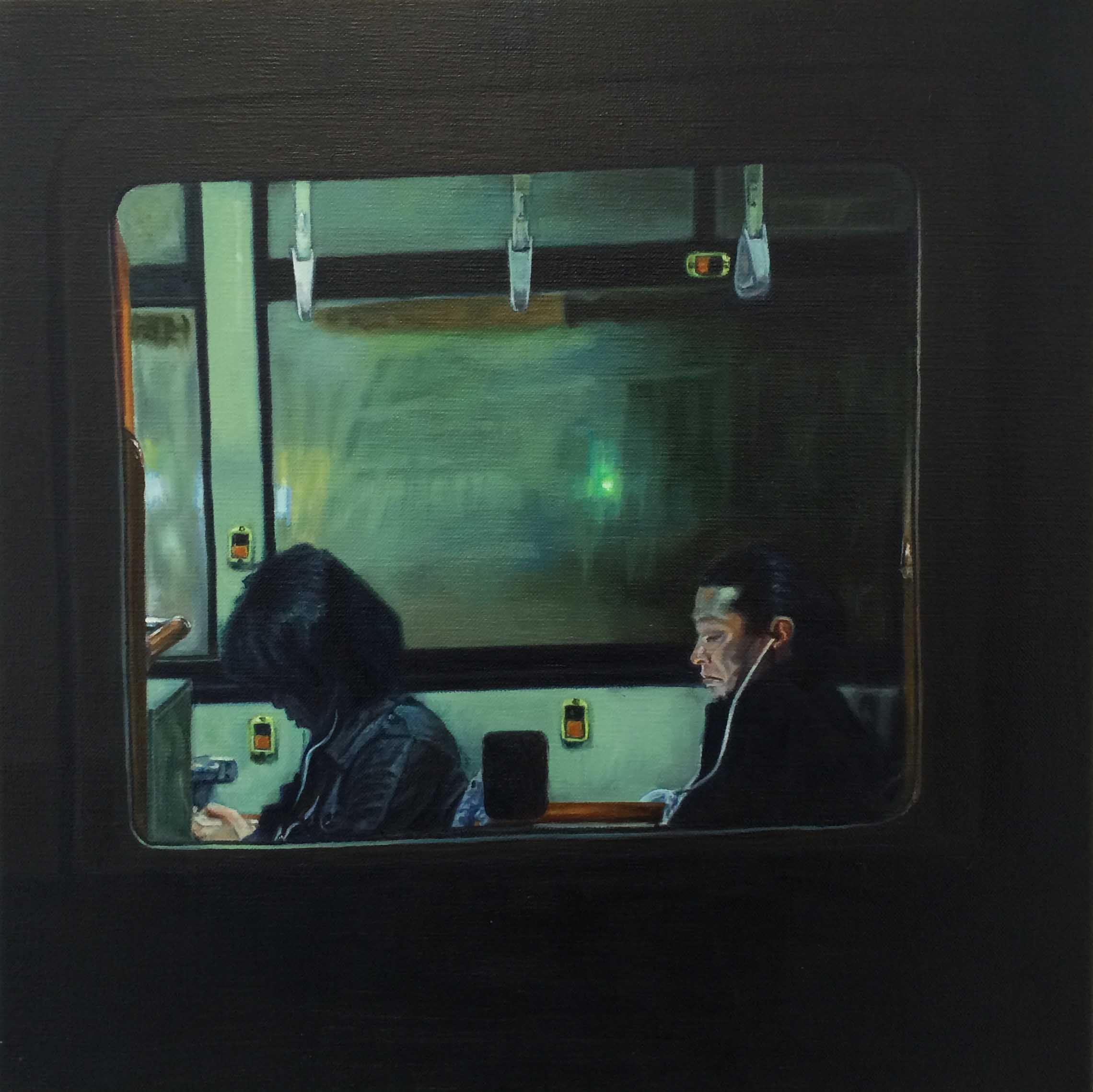 Bus No.13.  Oil on canvas.  33cm x 33cm
