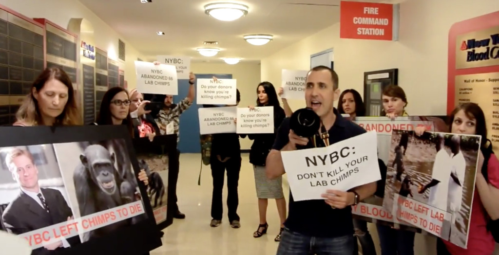 Donny Moss & fellow activists stage disruption inside New York Blood Center. Source:  Their Turn .