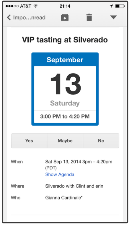 Mobile Gmail Calendar Invite, Looks Good.