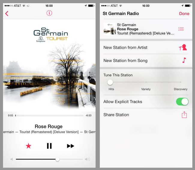 iTunes Radio Station and Info Menu