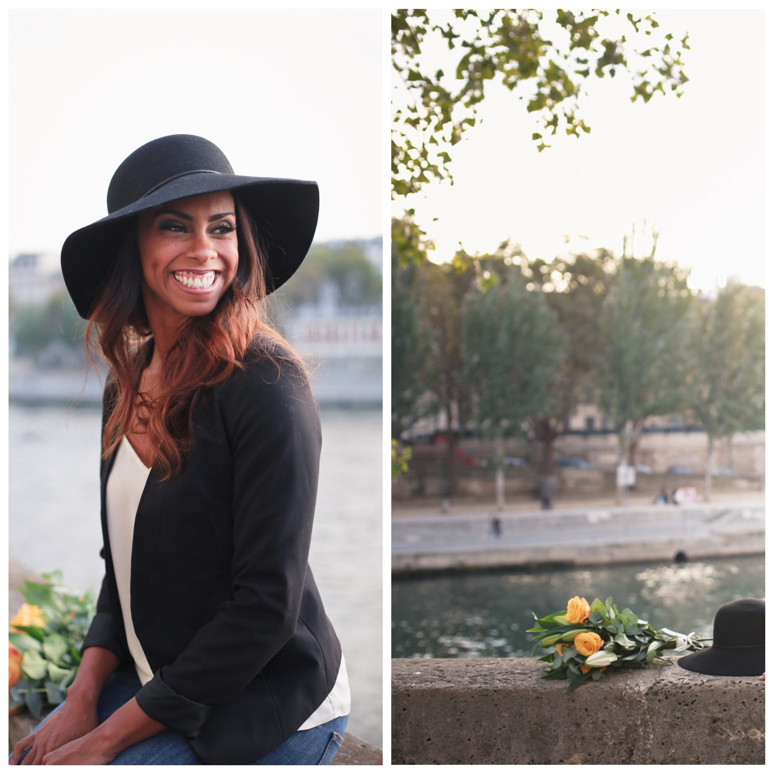 Photo shoot with Flytographer. Woman sitting along the seine. Flowers