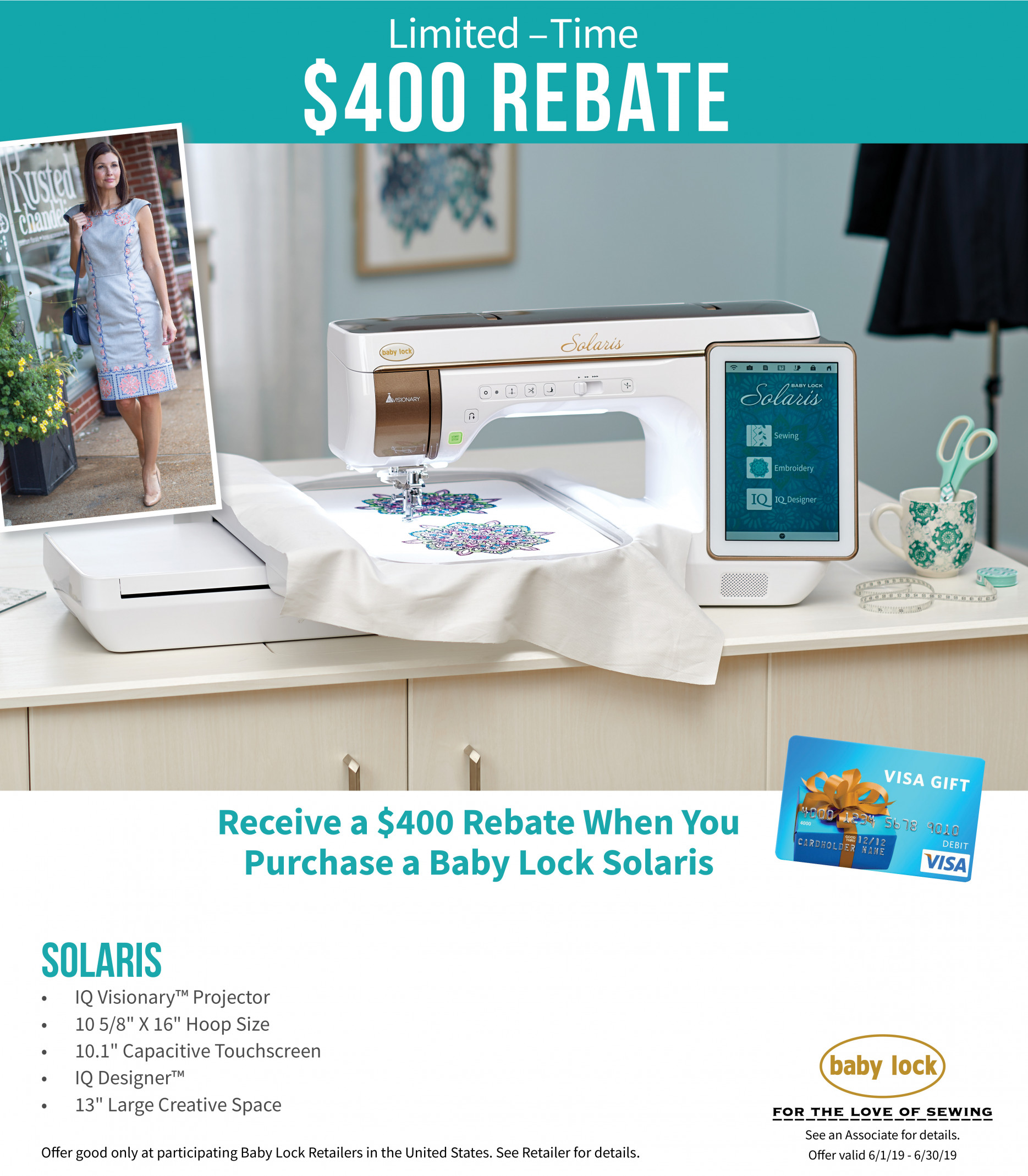 The Solaris continues to amaze with all it can do! - Receive a $400 rebate from Baby Lock in June.