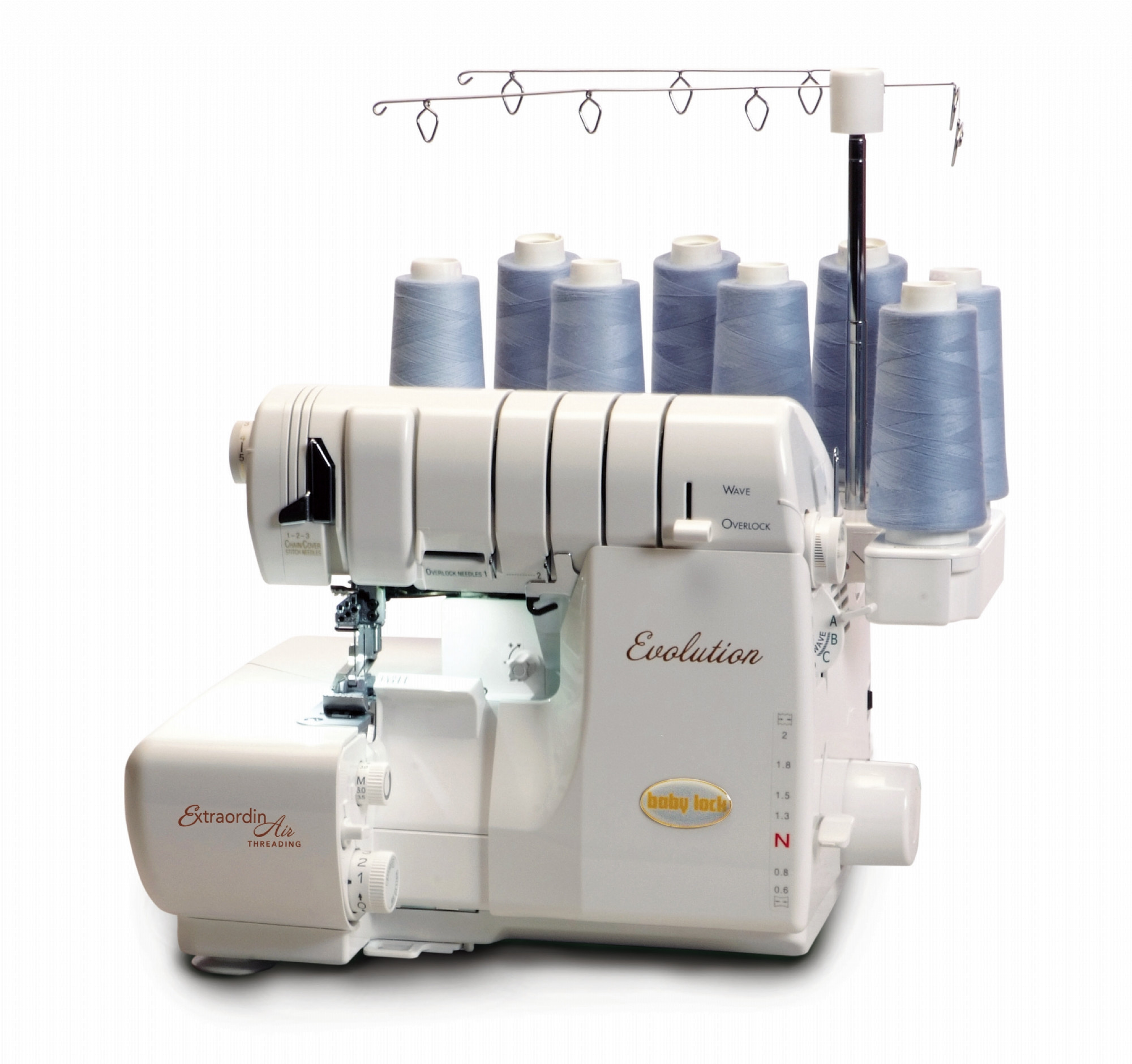 The EVOLUTION has air threading of the loopers as well as overlock and cover stitch capabilities. - We have ONE new-in-box Evolution and our floor model at huge discounts off MSRP.