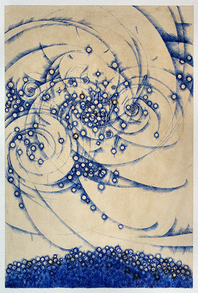 Drawing  Ink on paper    16.5 x 11 in This unique drawing is on Gampi paper. The overall paper measures 21.5 x 15.5 inches.