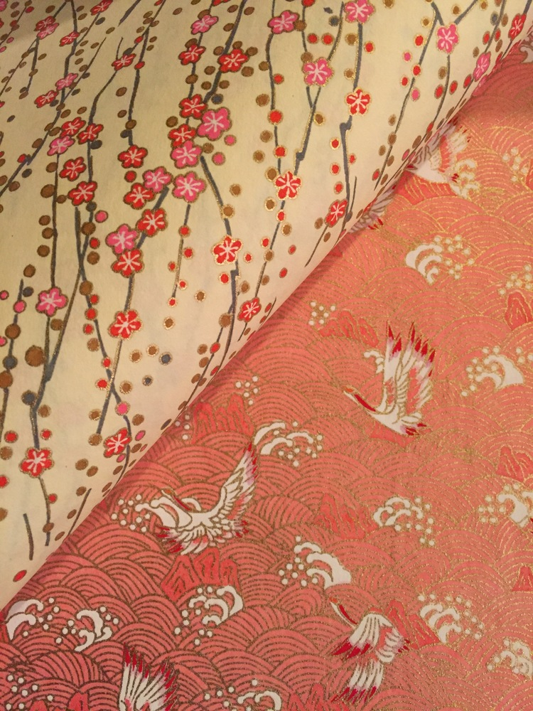 Japanese Paper Chiyogami Yuzen Carnations Pink on Gold.