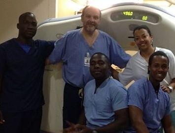 Jerry (center) was an integral part of the development of the CT program at Bernard Mevs Hospital