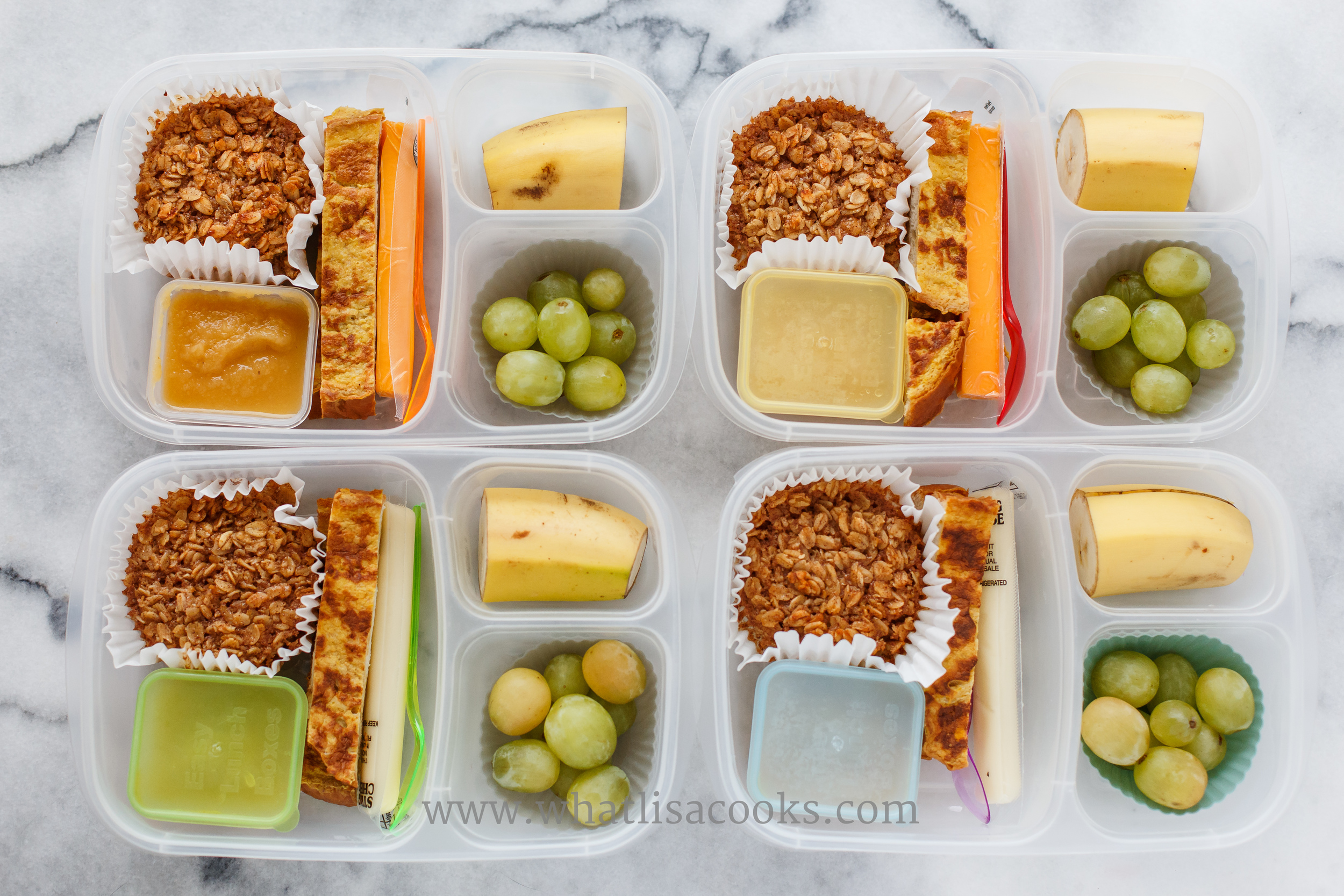 Breakfast for lunch: individual baked oatmeals, applesauce, pumpkin french toast, cheese stick, grapes, banana.