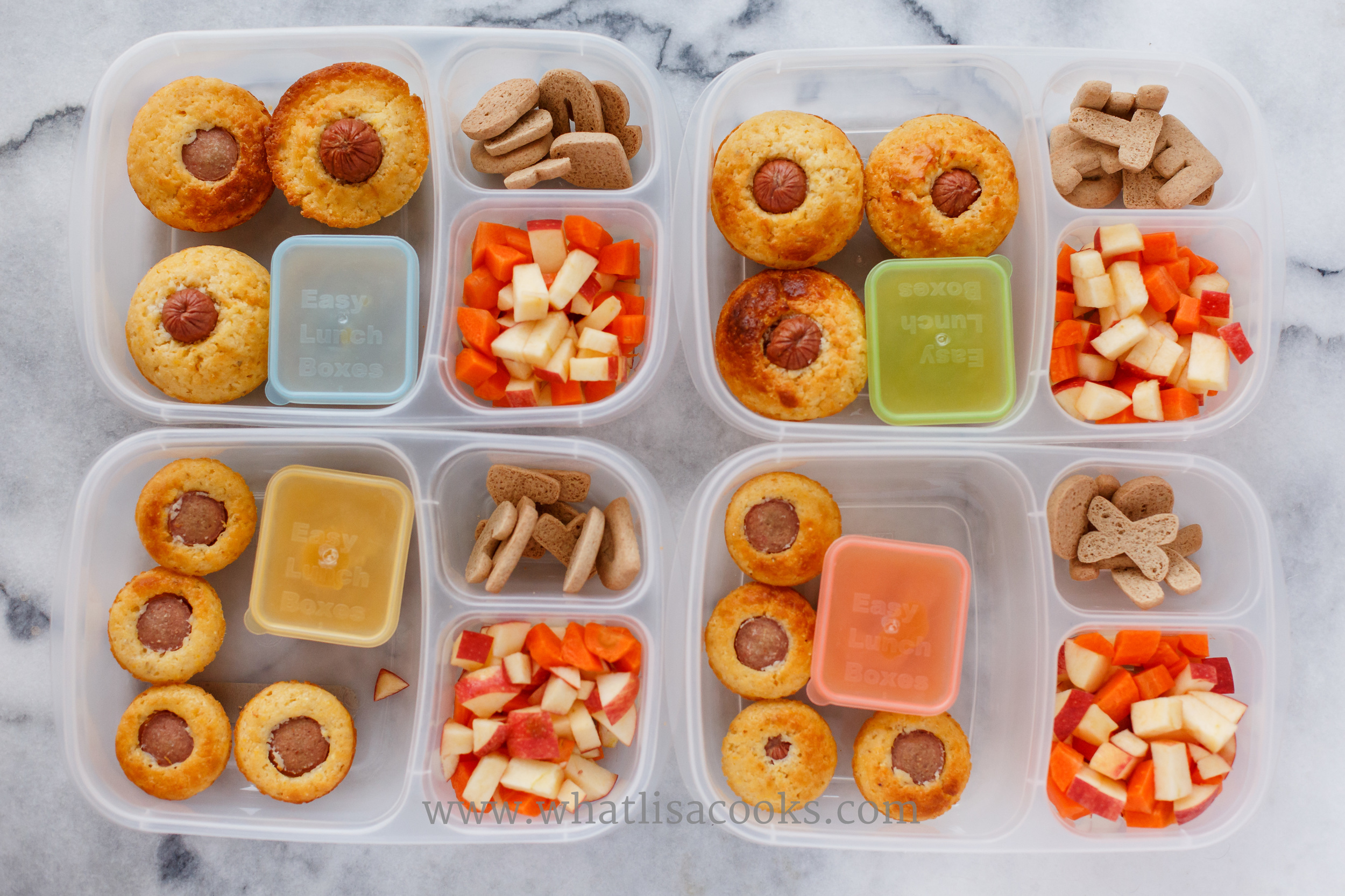Corn dog muffins (from the freezer) with ketchup for dipping, bites of apple & carrot, letter cookies.