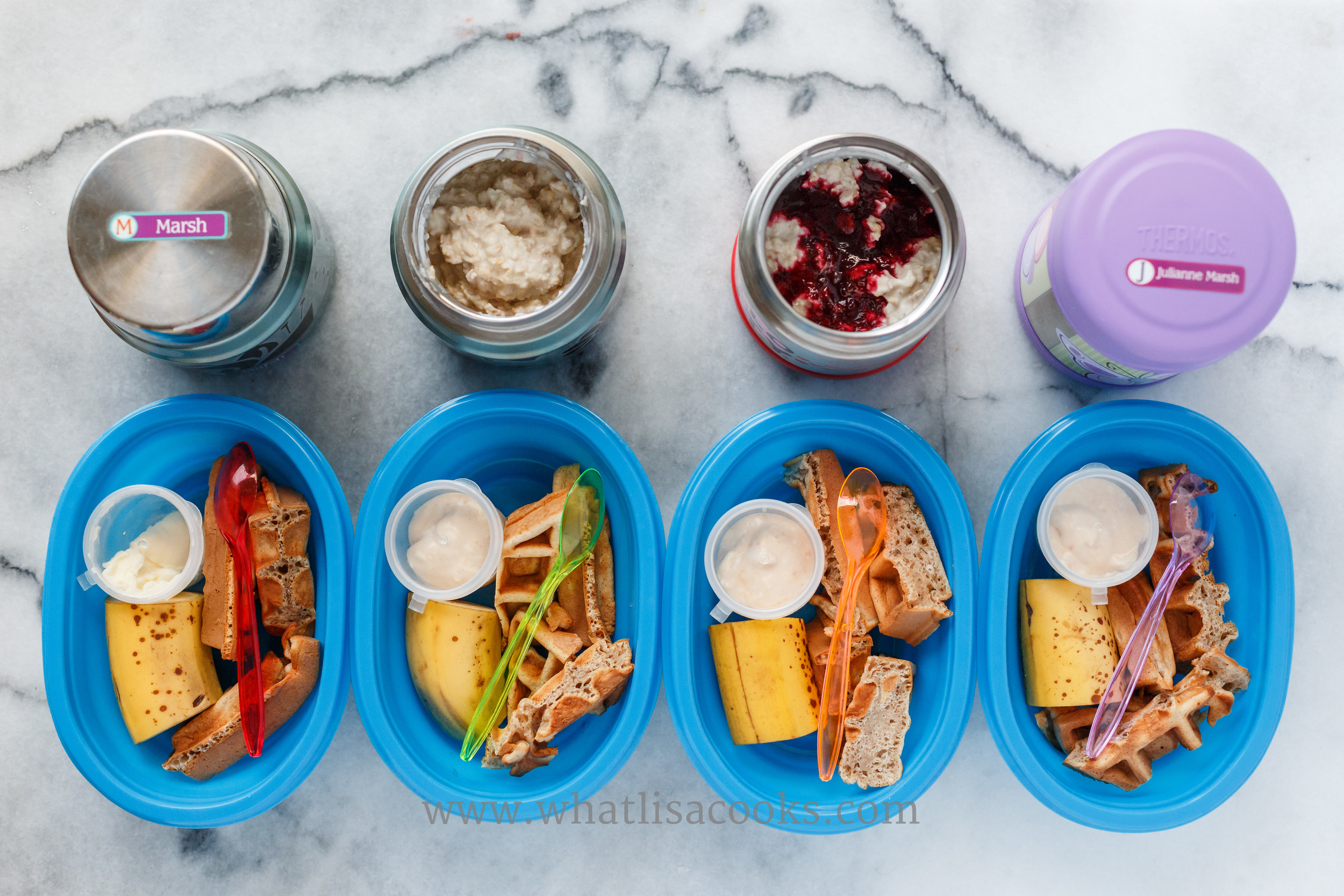 Breakfast for lunch day. In the thermos containers they have my  homemade muesli , one has homemade blackberry jam with it. They also have some strips of leftover waffle, and banana. My kids love breakfast for lunch, this was almost all devoured.