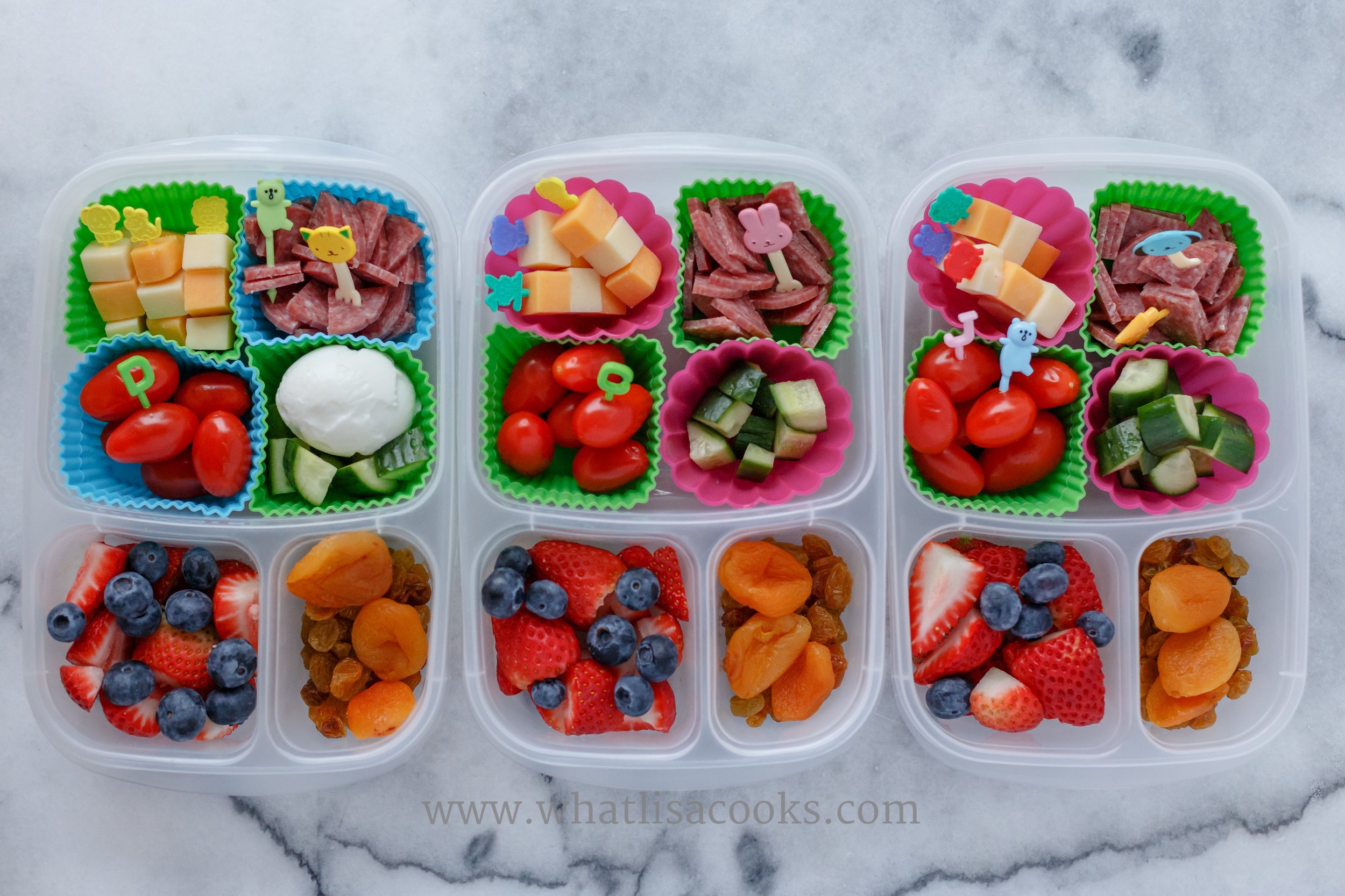 Mini cheese kebabs, salami, tomatoes, cucumbers, berries, and dried fruit.