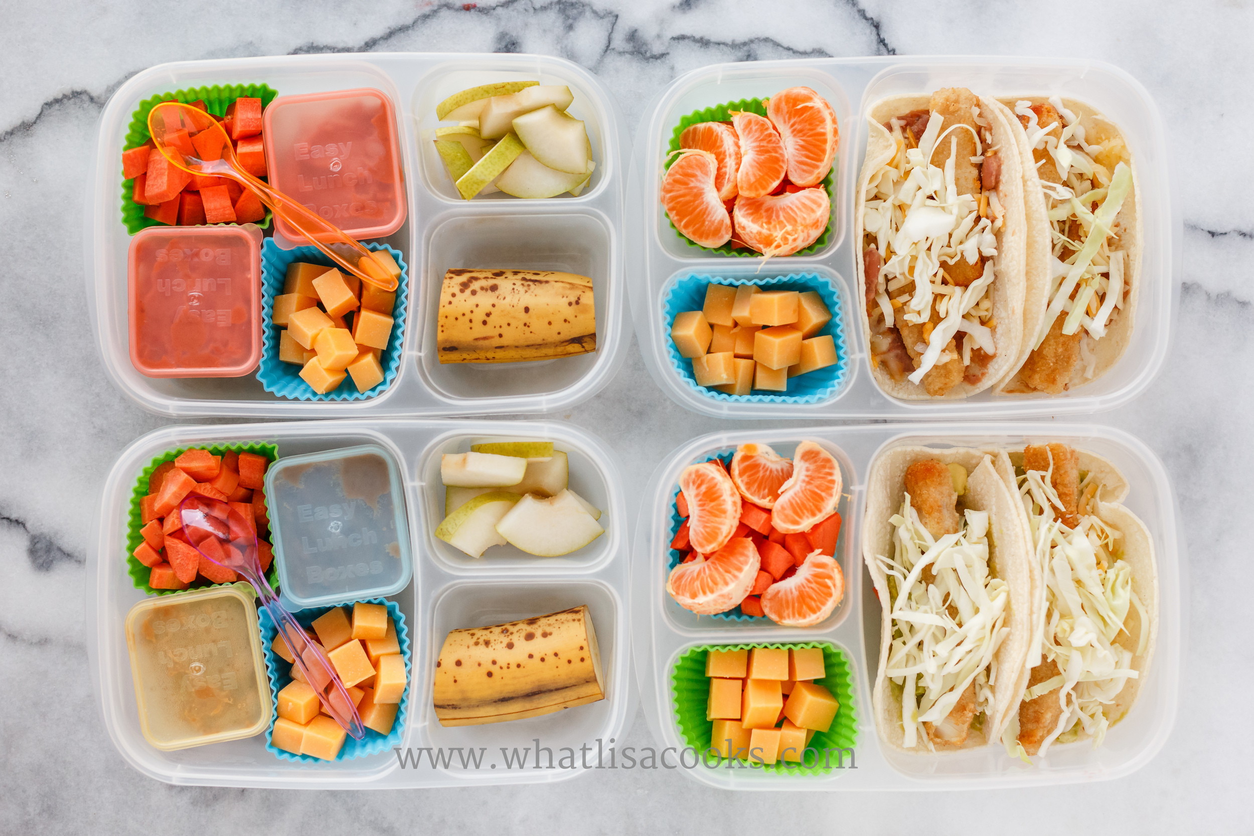 The two on the left here are grain free: refried beans, carrots, cheese, pear, and banana. The two on the right could be gluten free if you used fish that wasn't breaded and made sure to buy tortillas that were just corn: fish tacos with shredded cheese and cabbage, carrots, oranges, cheese.