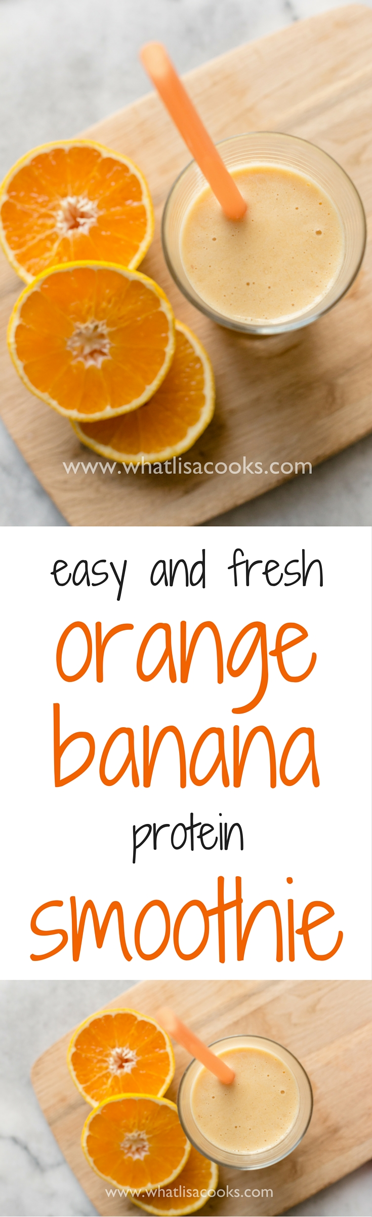 Must try this easy orange banana protein smoothie! whatlisacooks.com