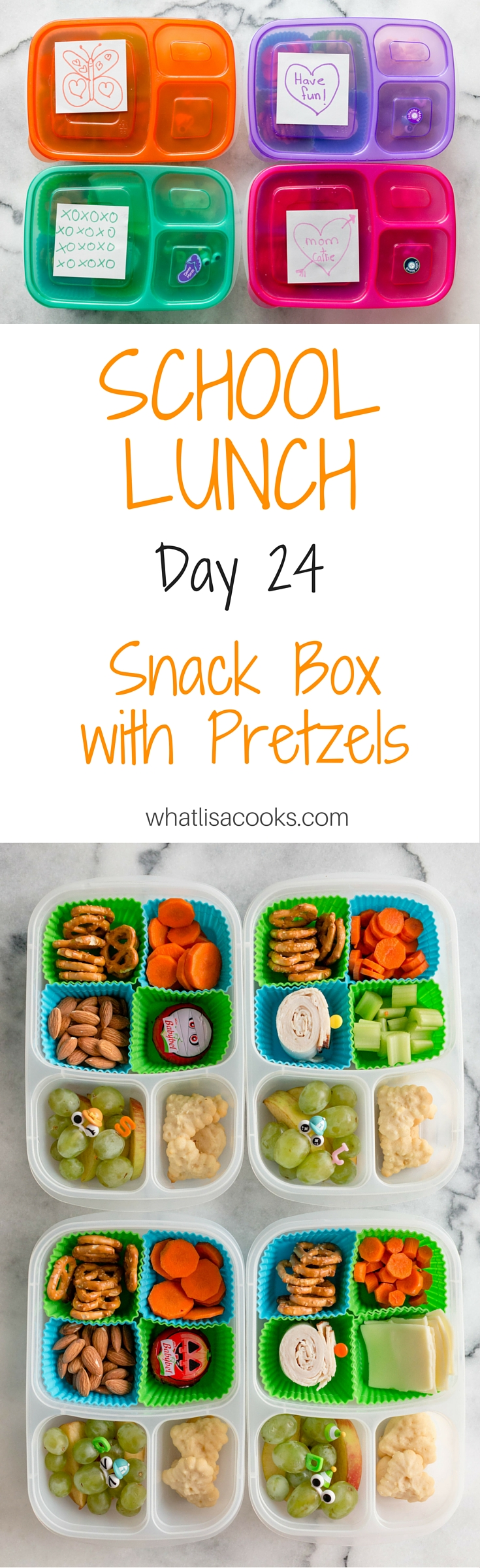 easy school lunch idea - a homemade lunchable with pretzels and a cookie | whatlisacooks.com