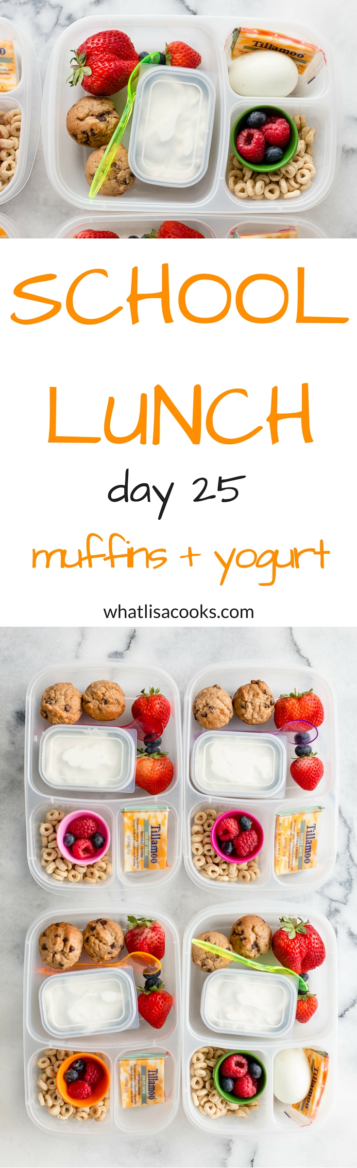 easy school lunch idea: breakfast for lunch.  Easy banana chocolate chip muffins (with recipe!). whatlisacooks.com