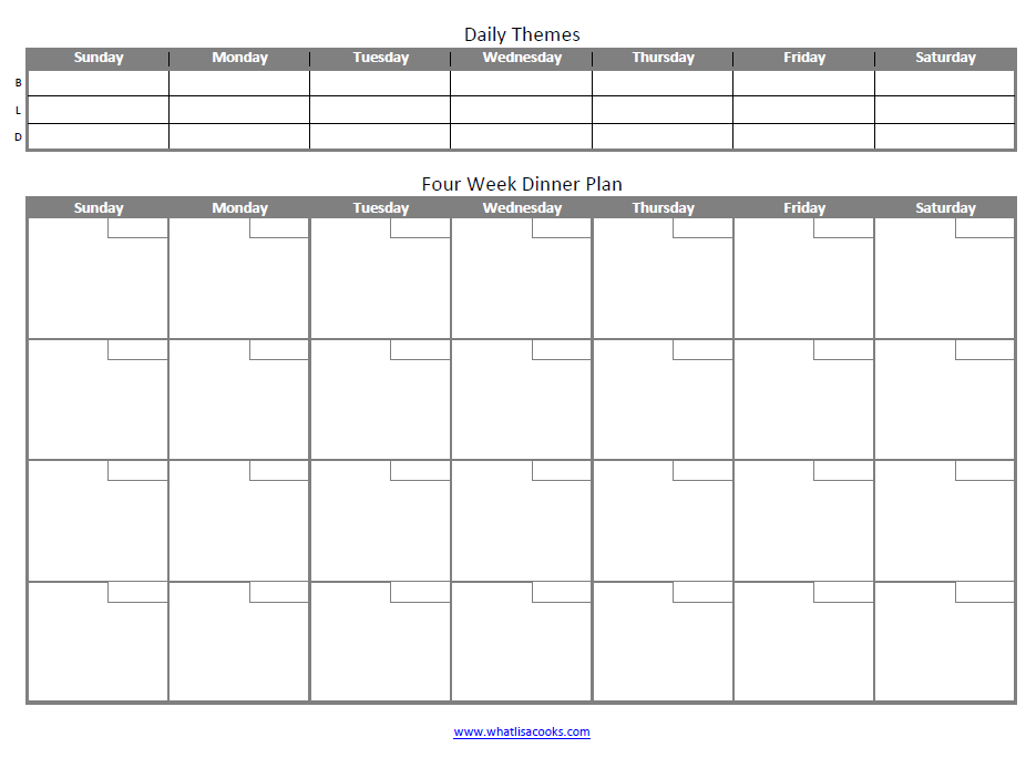 Family meal planning doesn't have to be hard.  Try this easy four week meal planning template from whatlisacooks.com.