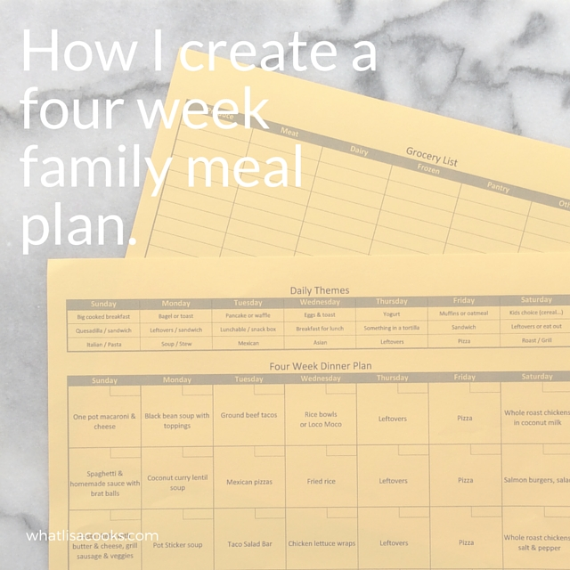 How I create an easy four week family meal plan. whatlisacooks.com.