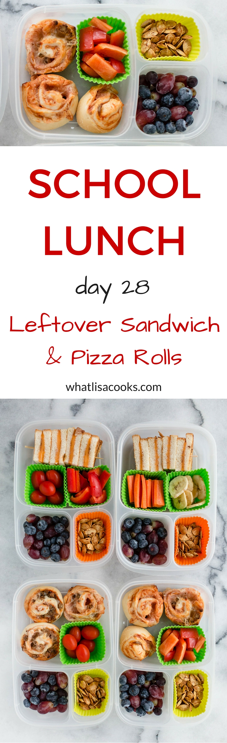 Easy school lunch idea from whatlisacooks.com - use what you have in the fridge and freezer.