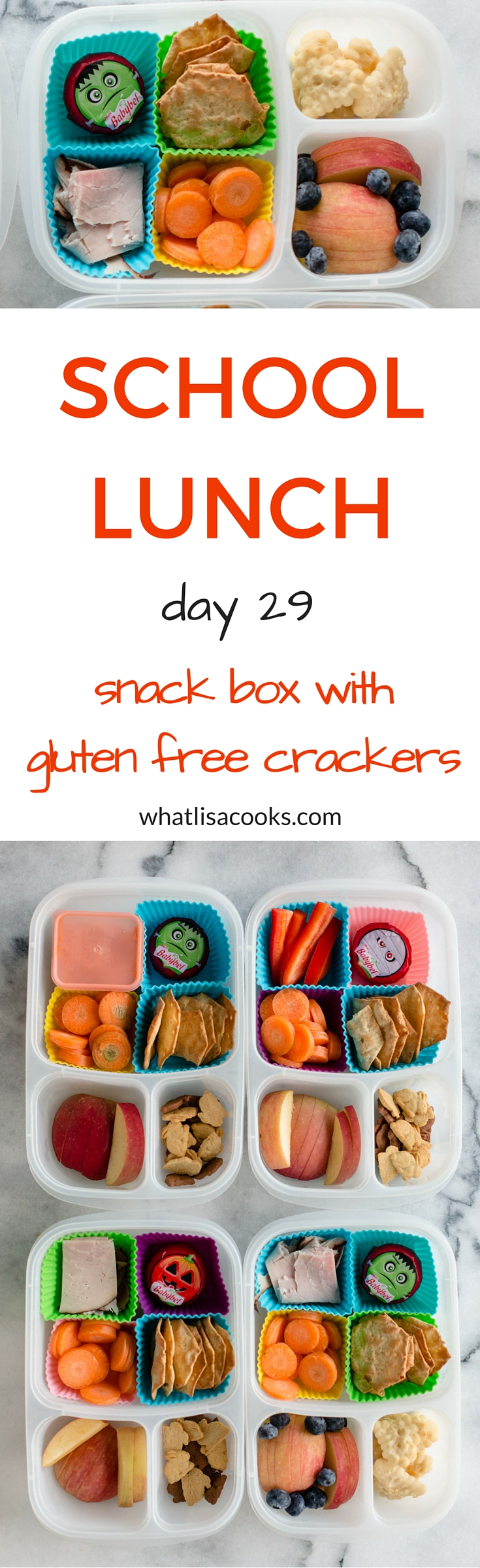 easy school lunch from whatlisacooks.com: snack box with gluten free crackers