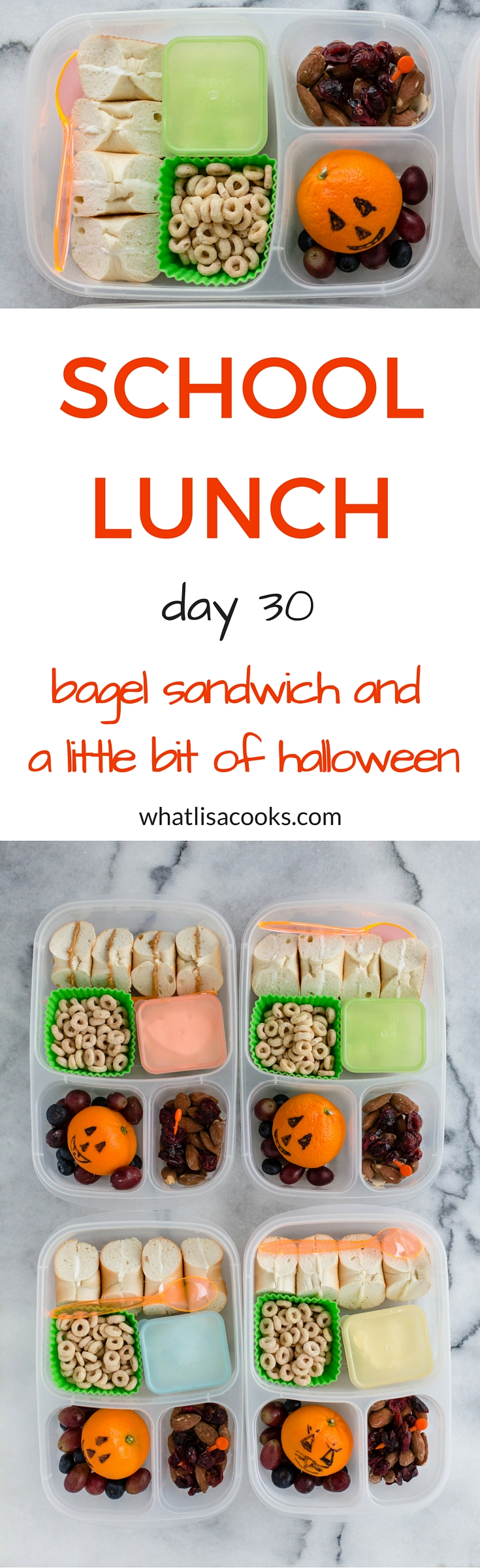 Easy school lunch idea from whatlisacooks.com: breakfast for lunch, bagel sandwiches.