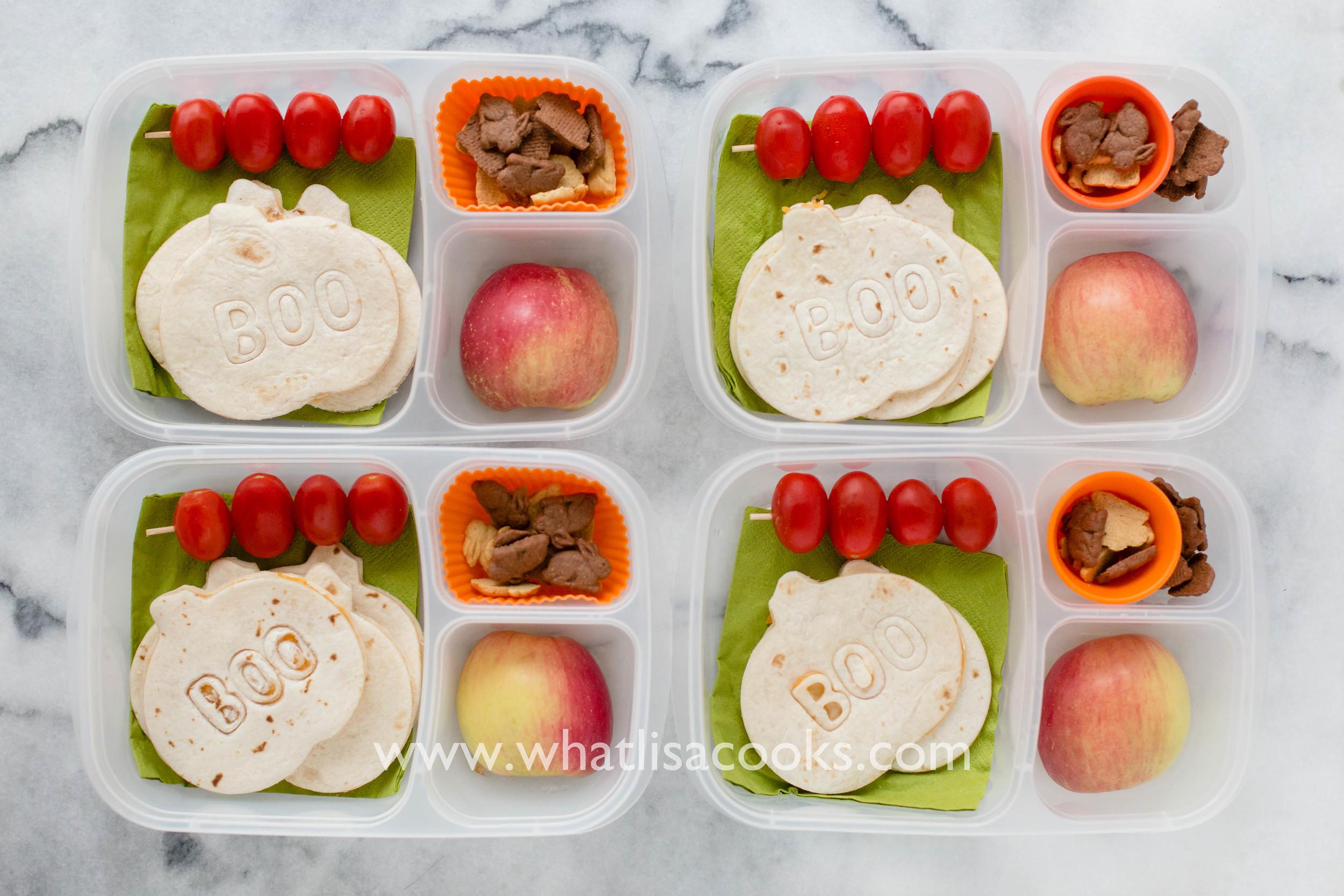 Easy Halloween School Lunch - pumpkin shaped quesadillas - from whatlisacooks.com
