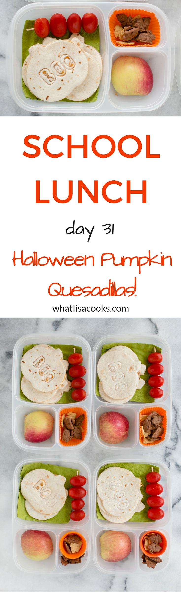 Easy Halloween Pumpkin School Lunch Idea from whatlisacooks.com