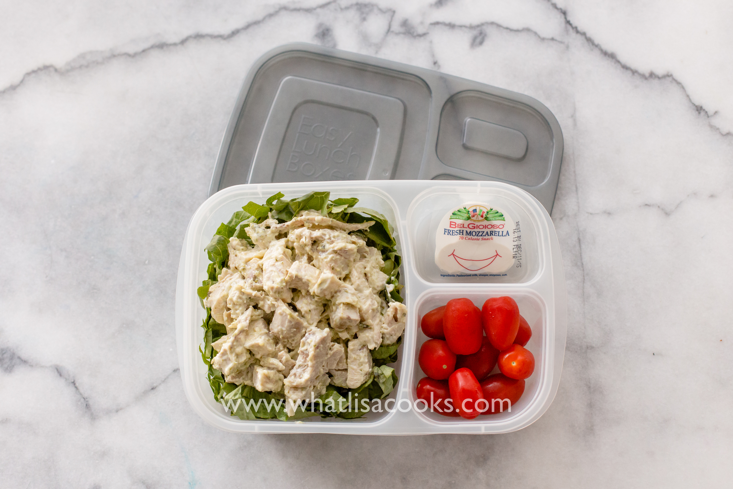 Easy grown up packed lunch from WhatLisaCooks.com - pesto chicken salad