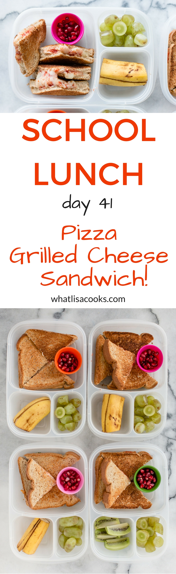 The kids will love this one - a pizza grilled cheese sandwich, packed for school lunch!  from WhatLisaCooks.com