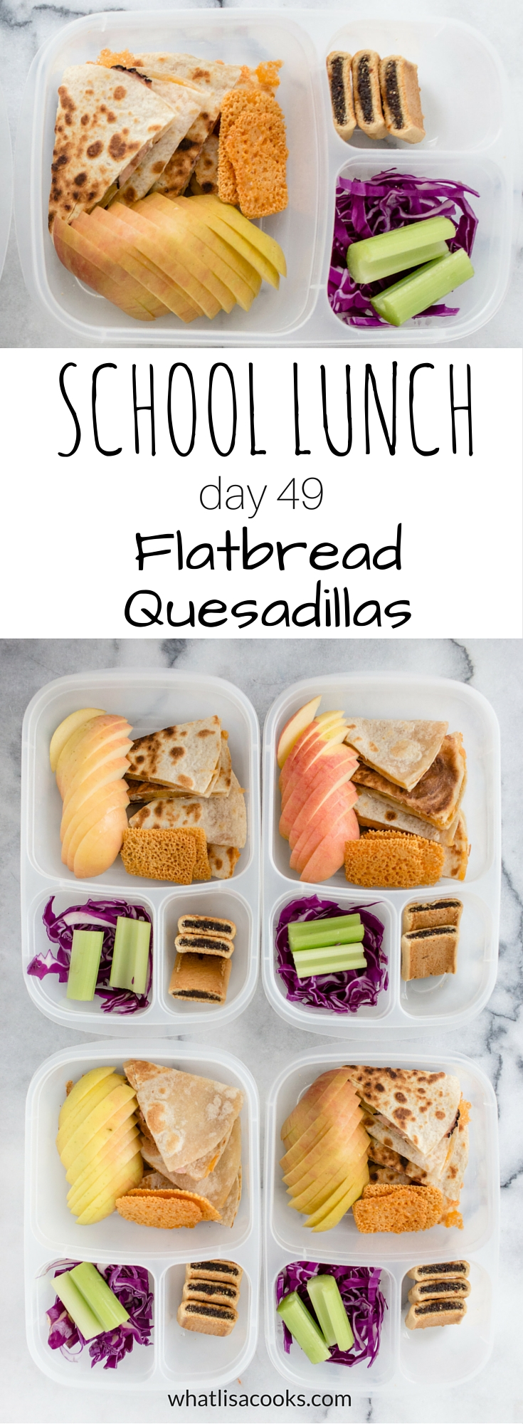 School lunch day 49 - flatbread quesadillas - from whatlisacooks.com