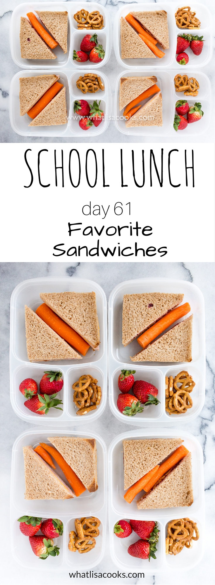 School Lunch Day 61 - simple sandwiches from WhatLisaCooks.com