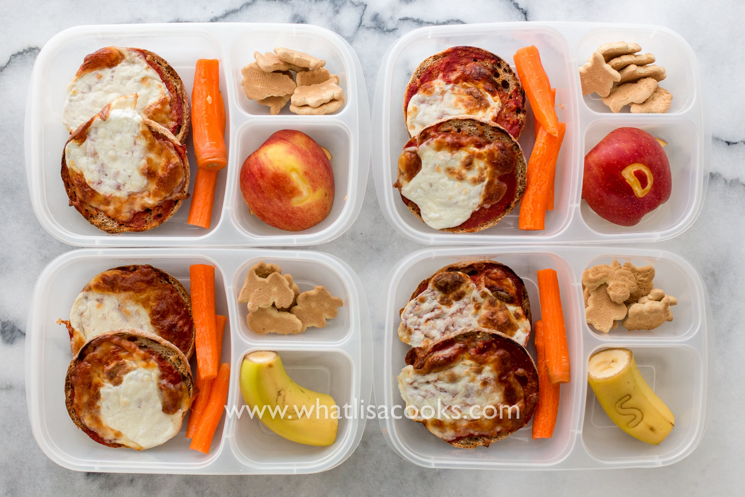 English Muffin mini pizzas for school lunch - from WhatLisaCooks.com