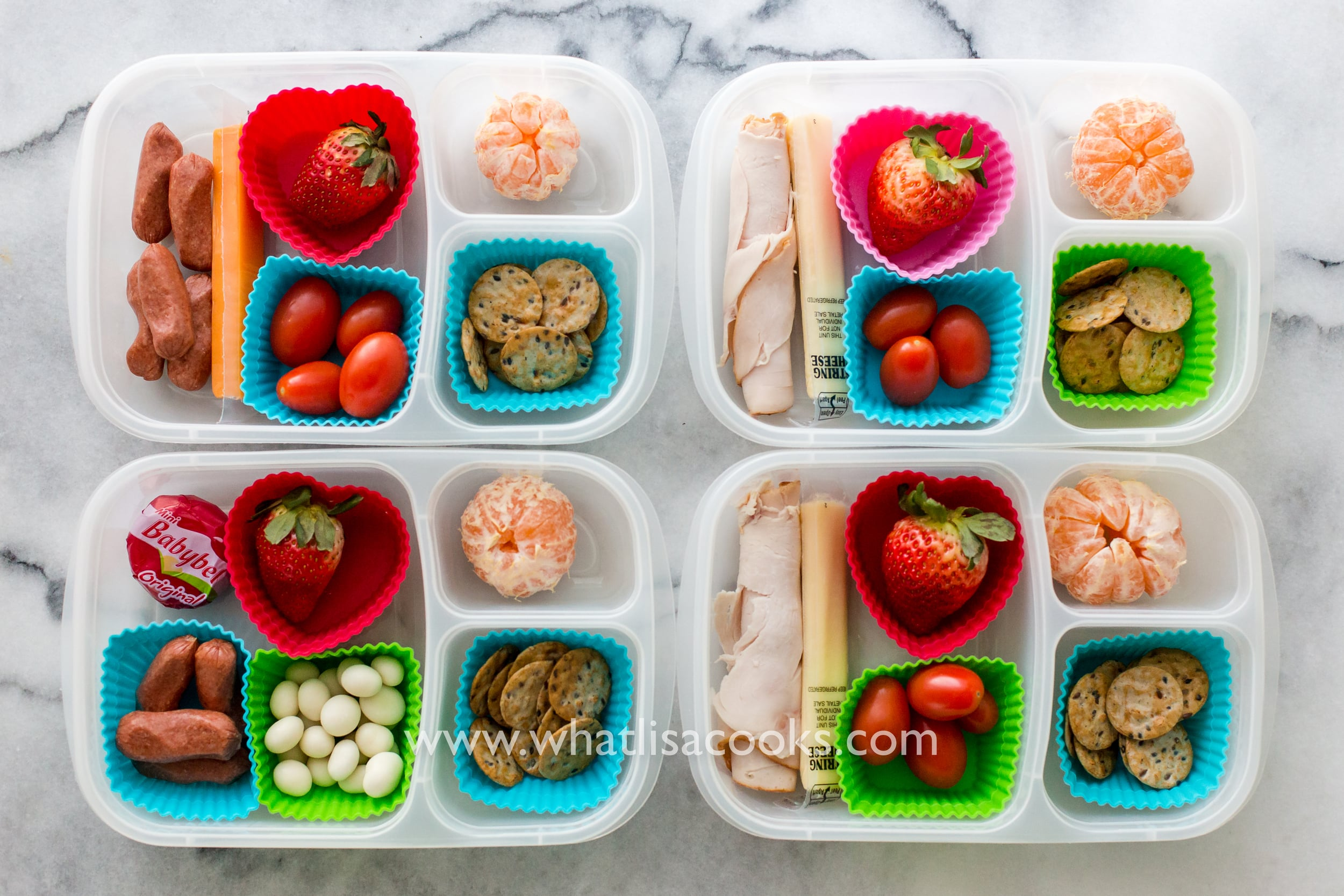 Easy make ahead snack boxes for school lunch - from WhatLisaCooks.com