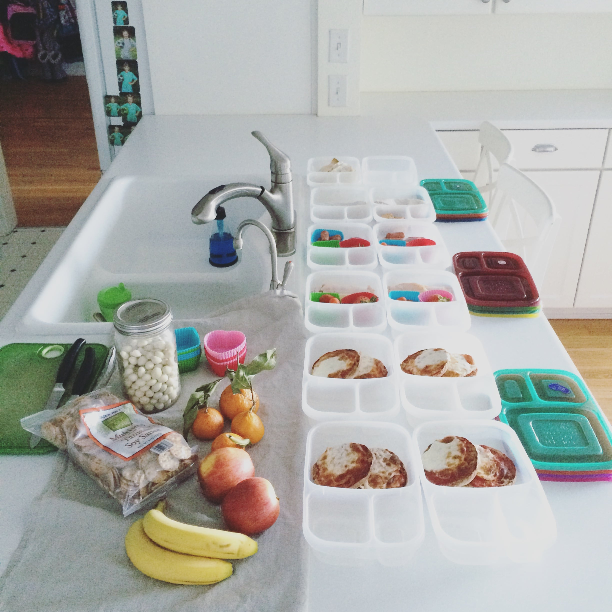 My assembly line of lunch packing on a Sunday afternoon.