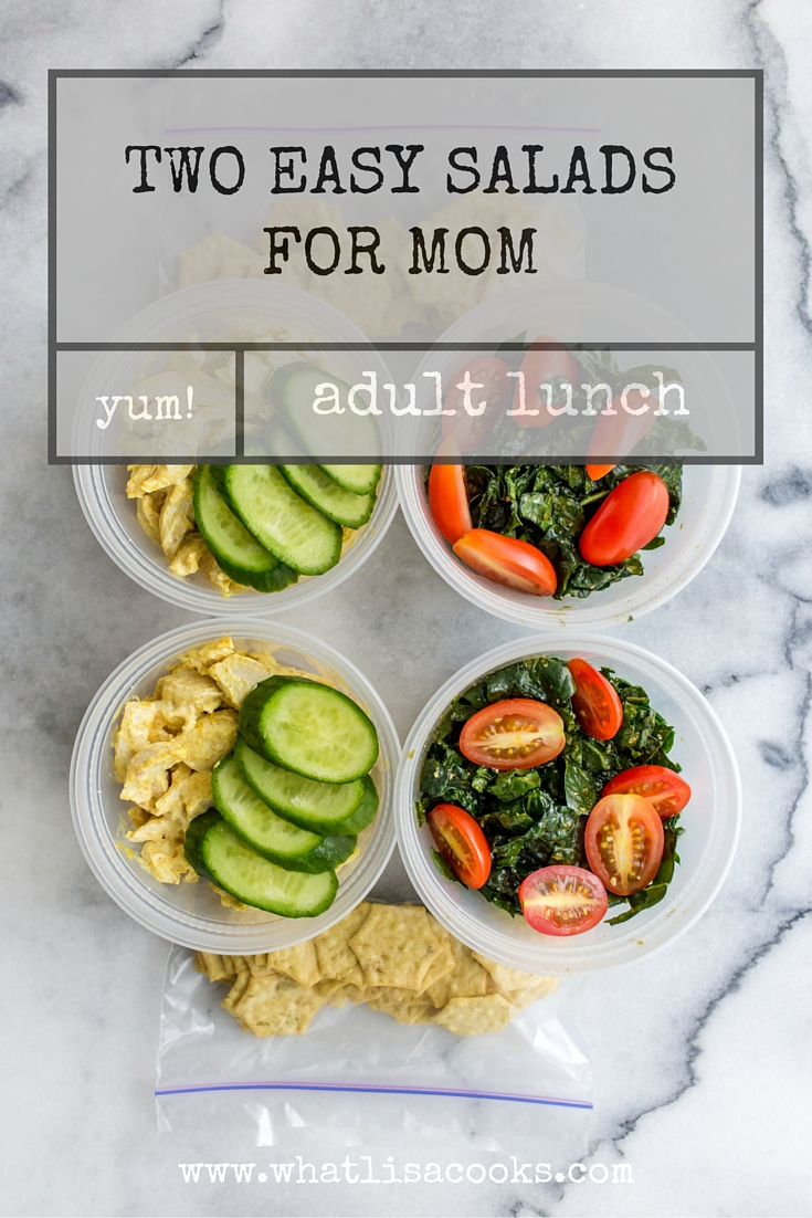 a quick and easy adult lunch idea: two simple salads. from whatlisacooks.com