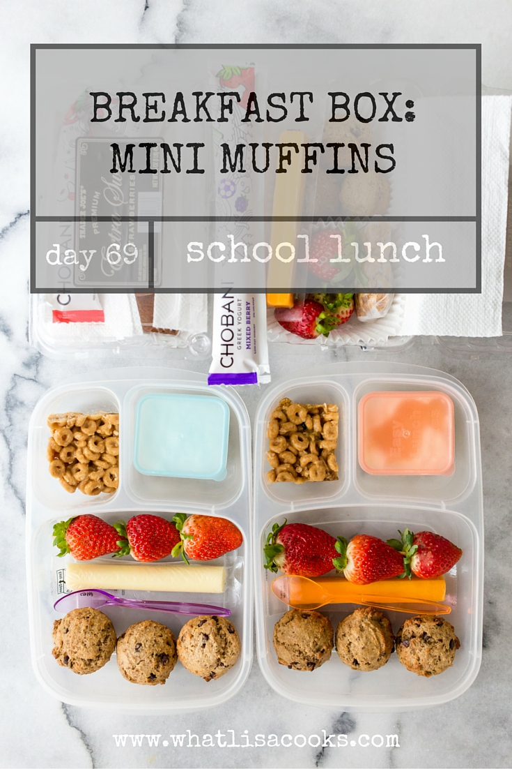 breakfast for lunch: mini chocolate chip muffins. from whatlisacooks.com
