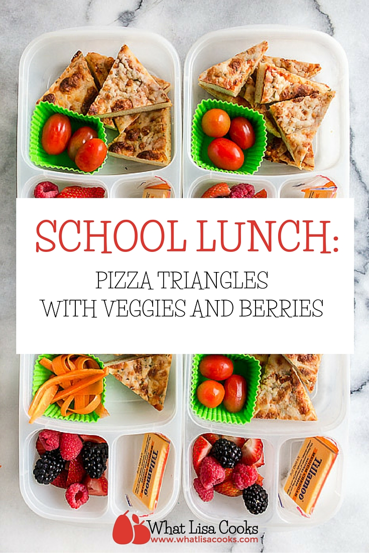 Easy packed school lunch idea from whatlisacooks.com - pizza triangles with veggies and berries.