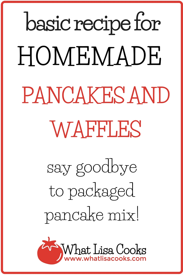 Stop buying packaged pancakes mix! Homemade pancakes are so easy to make from scratch with this basic recipe for easy homemade pancakes and waffles - from whatlisacooks.com