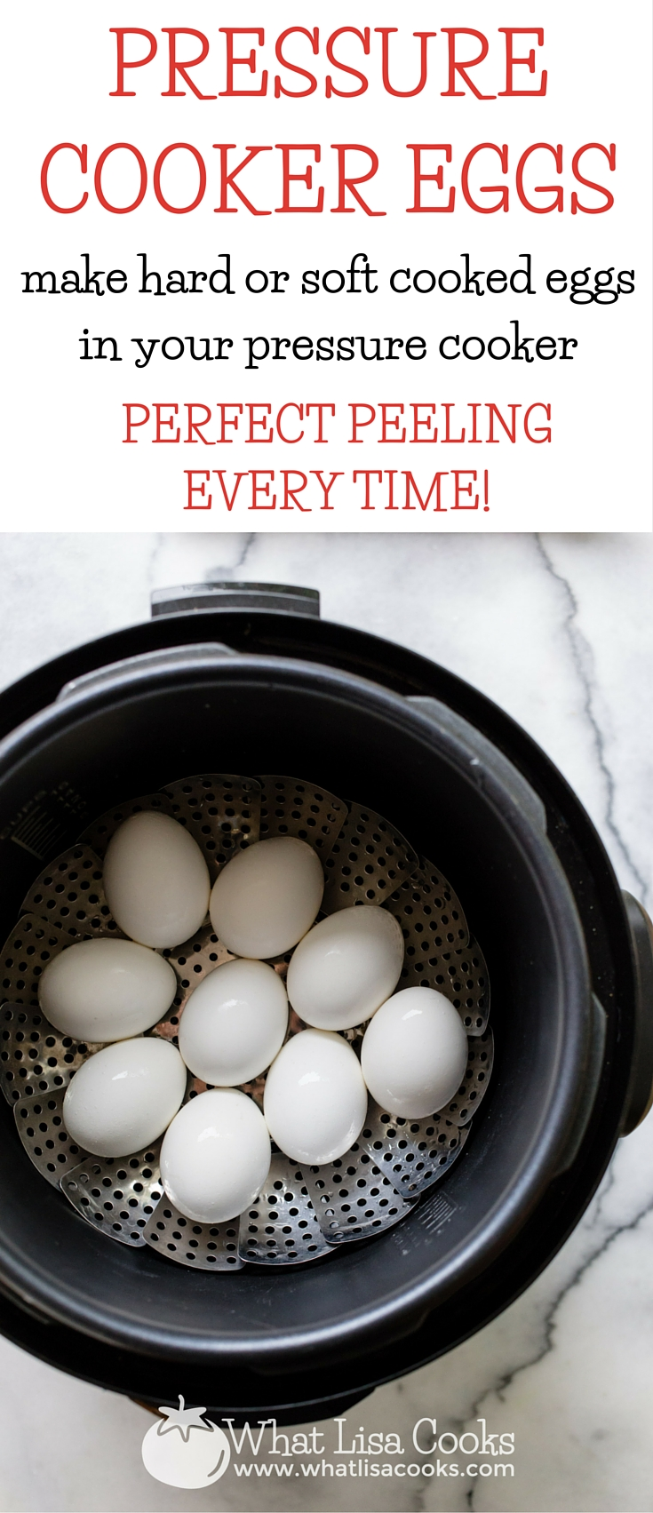 "Make hard or soft ""boiled"" eggs in your pressure cooker - perfect every time. This is fool proof. The peels just slide right off. From WhatLIsaCooks.com"