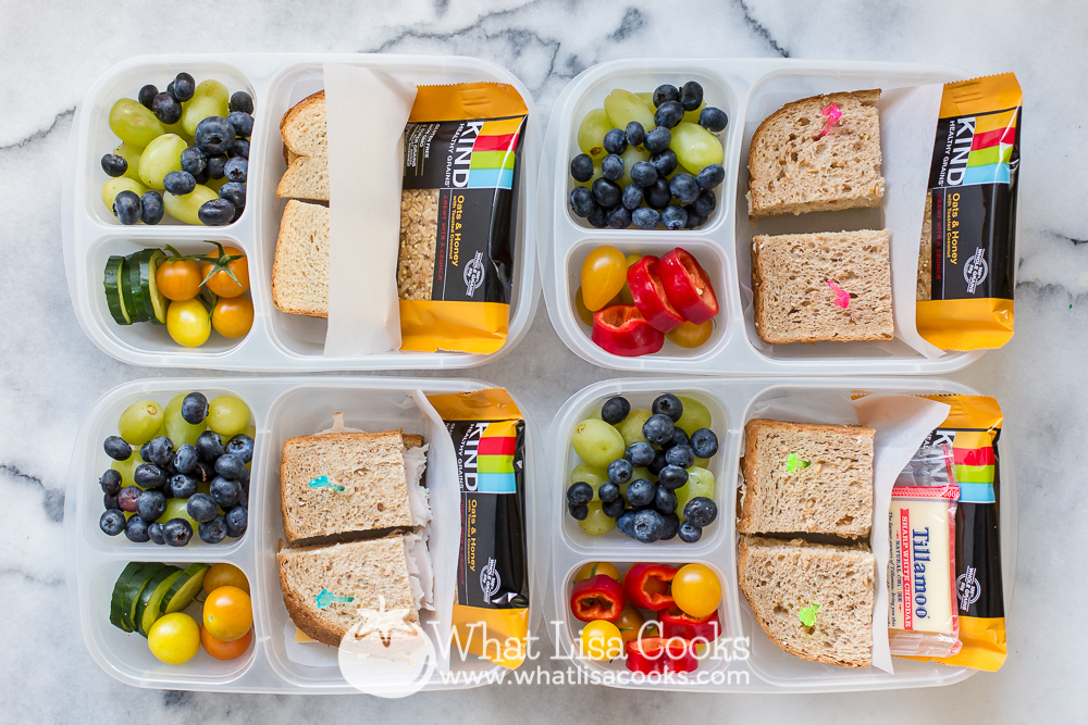 Colorful fruit, veggie, and sandwich box