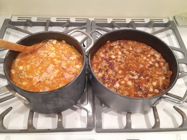 One of these days I'll take a better picture, but it still looks yummy! Here are two versions - pork on the left, beans on the right.