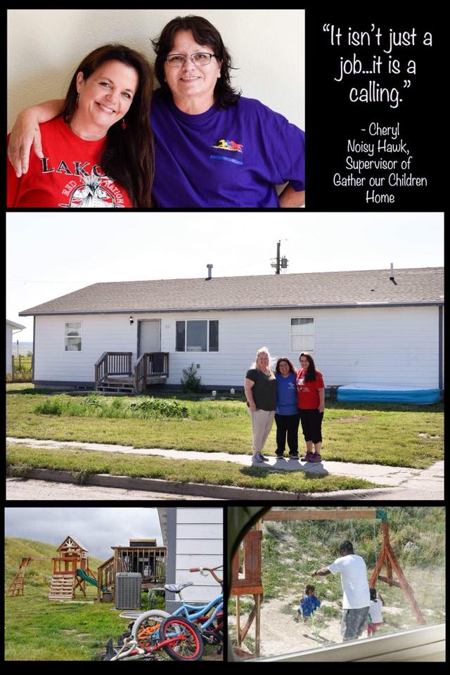 "Gathering Thunder Foundation is honored to be a supporter and a sponsor of Gather Our Children Home safe house in Oglala, South Dakota on the Pine Ridge Reservation.  My sister, Cheryl Noisy Hawk, was able to break free of her responsibilities for just a few moments for a quick photo with us and photographer, Nicole Werner at Gather Our Children Home last month. A great big, ""Wopila!"" goes out to all of our supporters, donors and volunteers who help us to assist the precious young ones who find safe haven with Cheryl and her amazing staff at Wakanyeja Gluwitayan Otipi.  www.GatherOurChildrenHome.org"