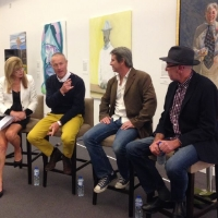 Vivian Gaston, Martin Tighe, James Powditch and Phillip Barnes discuss celebrities and painting. Image courtesy MPRG facebook page.