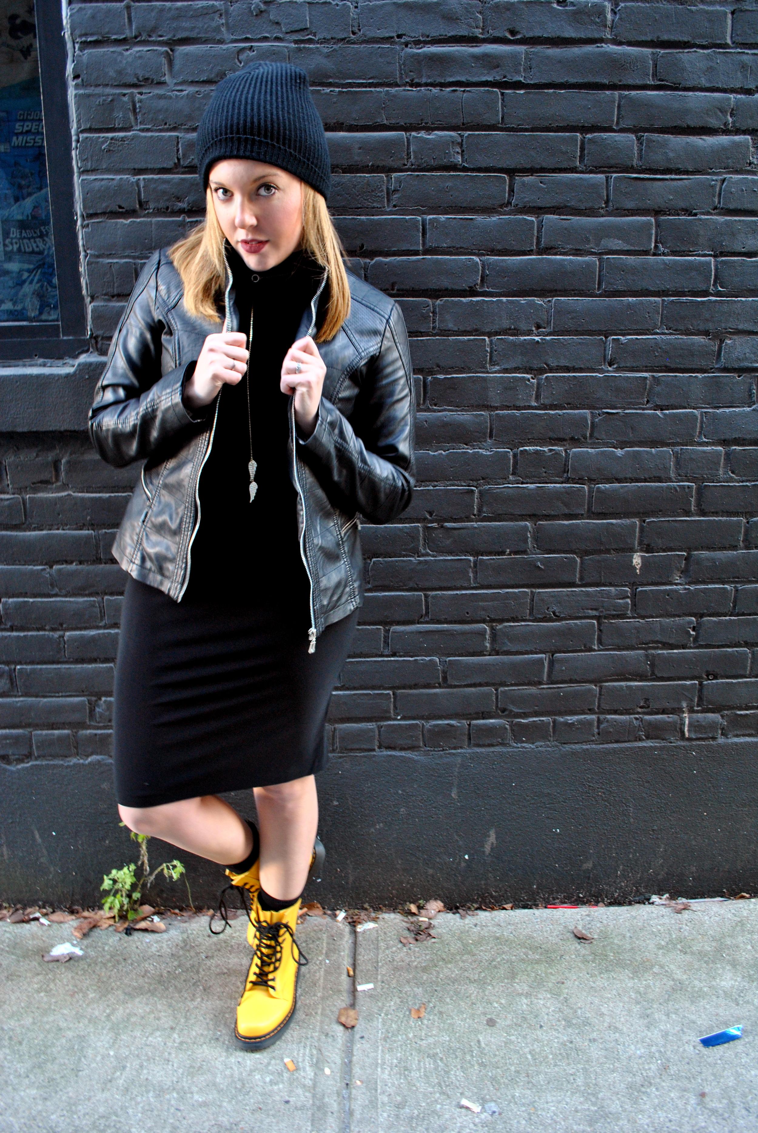 Black turtleneck dress and beanie - Thoughtfulwish